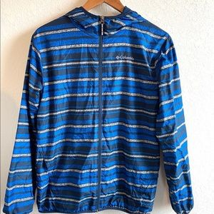 Columbia Omni Wick Blue Striped Windbreaker Jacket